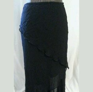 Cache Skirts - Cache Size Small Black Asymmetrical Layered Skirt
